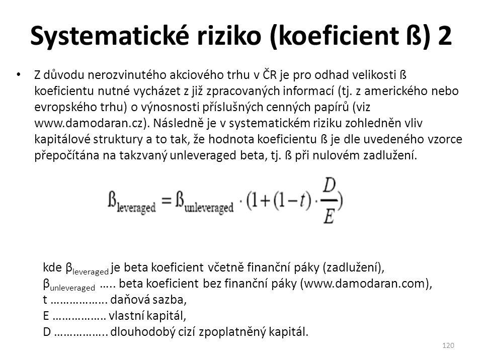 Systematické riziko (koeficient ß) 2