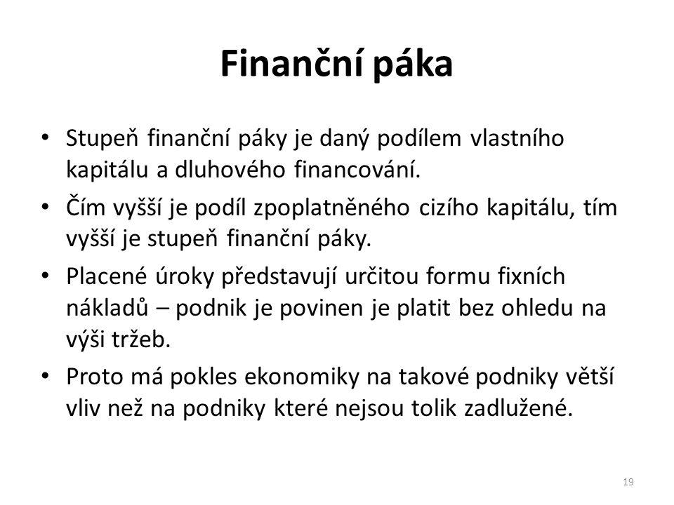 Finanční páka Stupeň finanční páky je daný podílem vlastního kapitálu a dluhového financování.