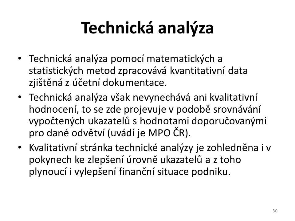 Technická analýza Technická analýza pomocí matematických a statistických metod zpracovává kvantitativní data zjištěná z účetní dokumentace.