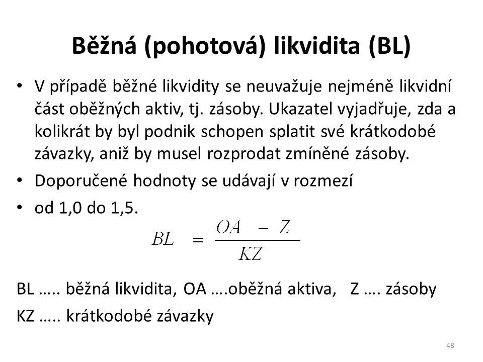 Běžná (pohotová) likvidita (BL)