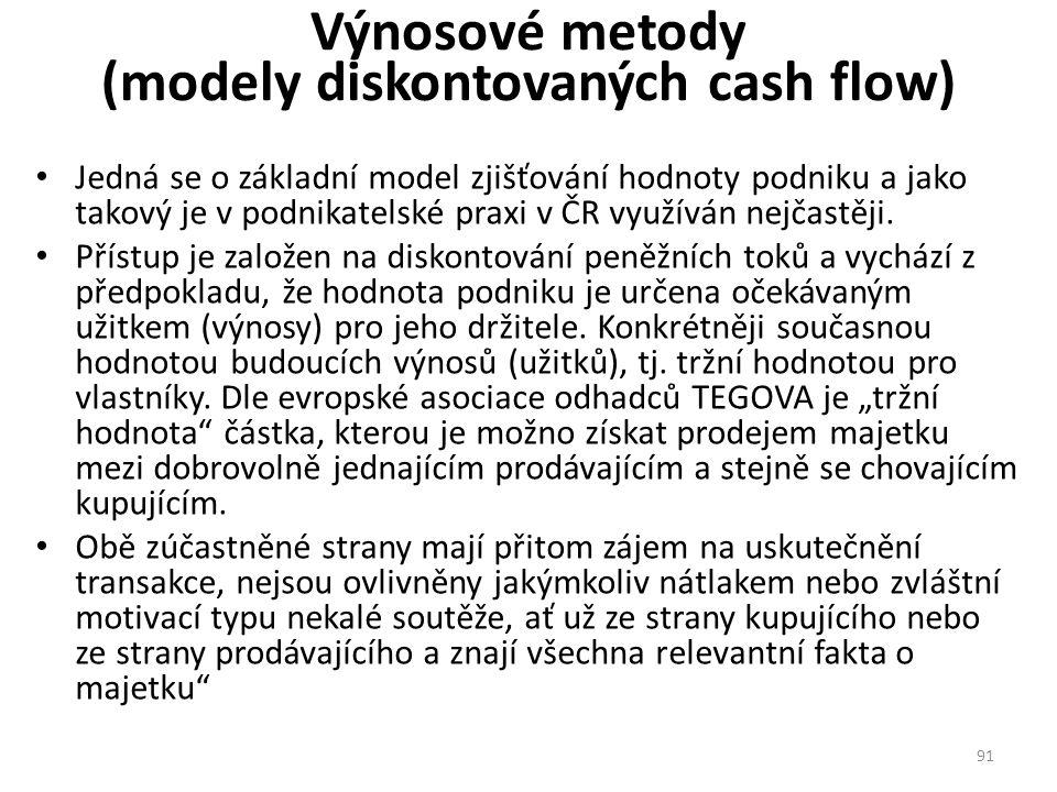 Výnosové metody (modely diskontovaných cash flow)