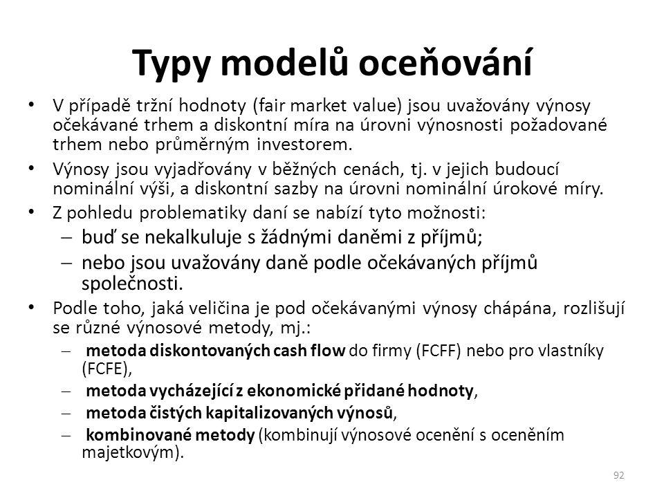 Typy modelů oceňování buď se nekalkuluje s žádnými daněmi z příjmů;