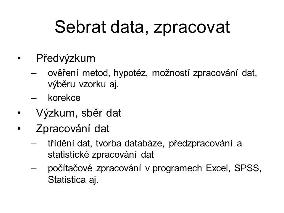 Sebrat data, zpracovat Předvýzkum Výzkum, sběr dat Zpracování dat