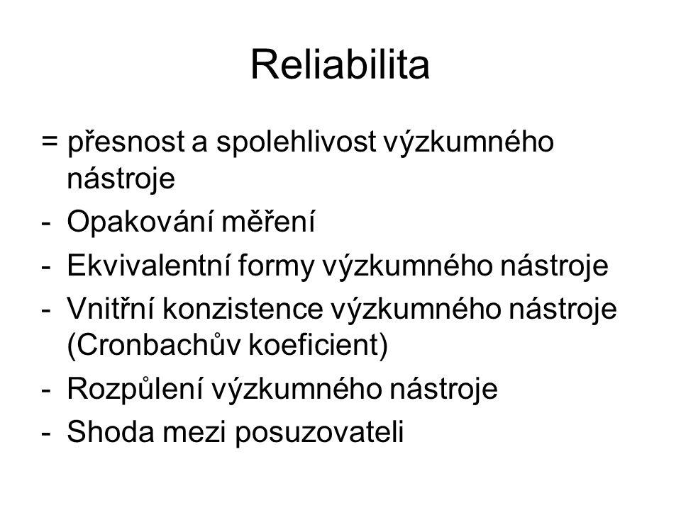 Reliabilita = přesnost a spolehlivost výzkumného nástroje