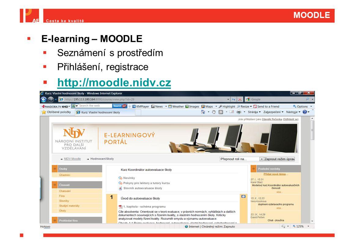http://moodle.nidv.cz E-learning – MOODLE Seznámení s prostředím