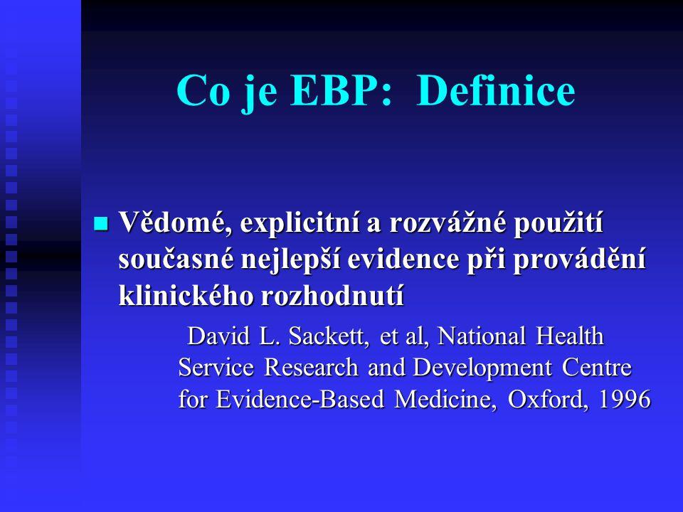 Co je EBP: Definice Vědomé, explicitní a rozvážné použití současné nejlepší evidence při provádění klinického rozhodnutí.