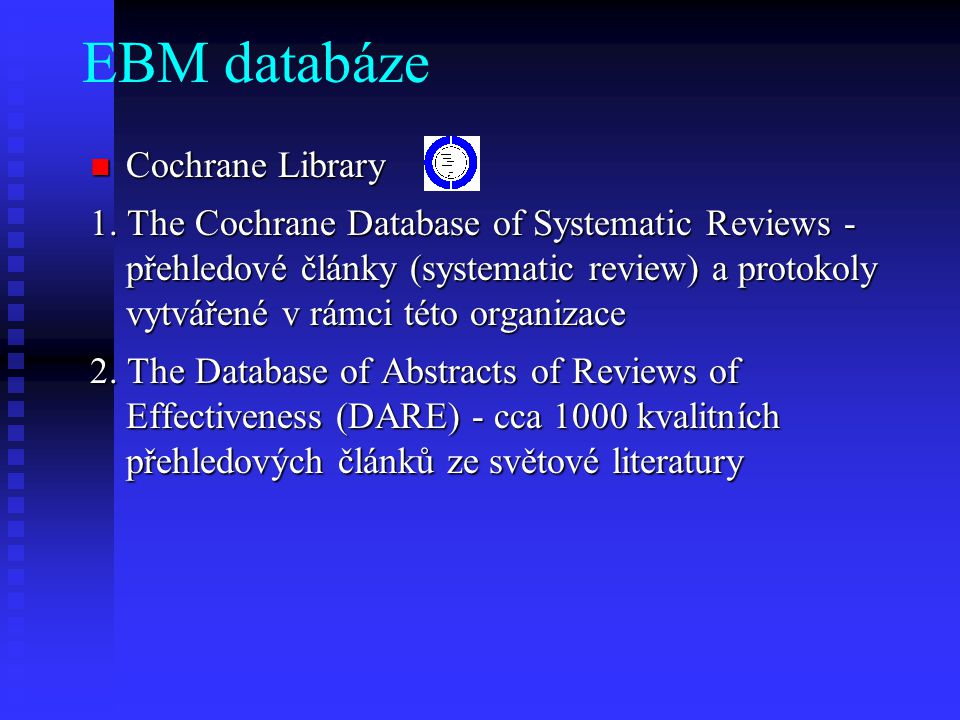 EBM databáze Cochrane Library