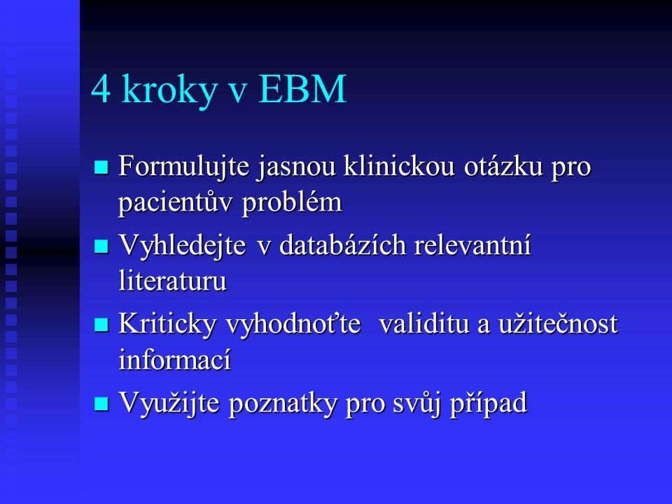 4 kroky v EBM Formulujte jasnou klinickou otázku pro pacientův problém
