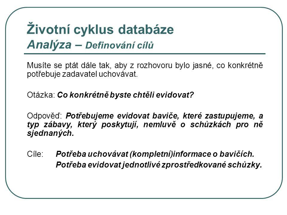 Životní cyklus databáze Analýza – Definování cílů