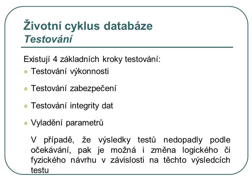 Životní cyklus databáze Testování