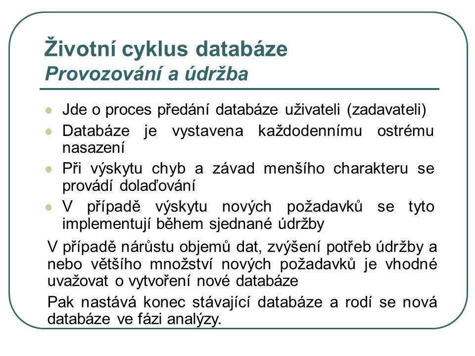 Životní cyklus databáze Provozování a údržba