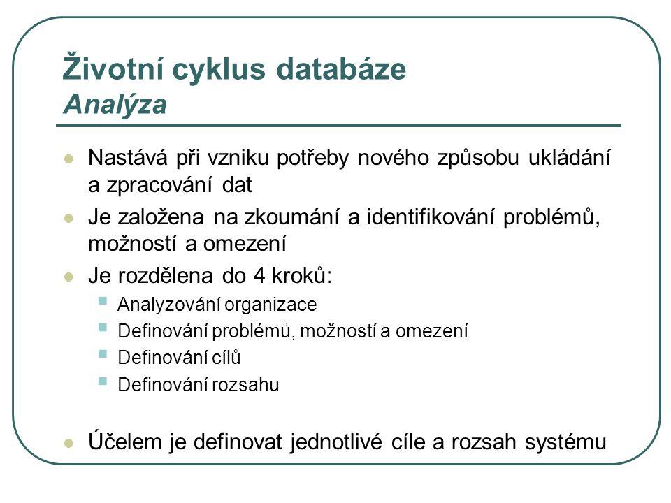 Životní cyklus databáze Analýza