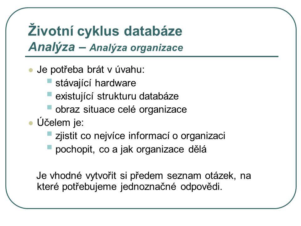 Životní cyklus databáze Analýza – Analýza organizace