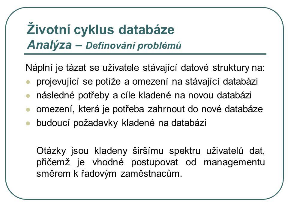 Životní cyklus databáze Analýza – Definování problémů