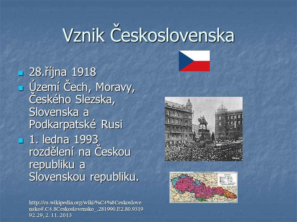 Vznik Československa 28.října 1918