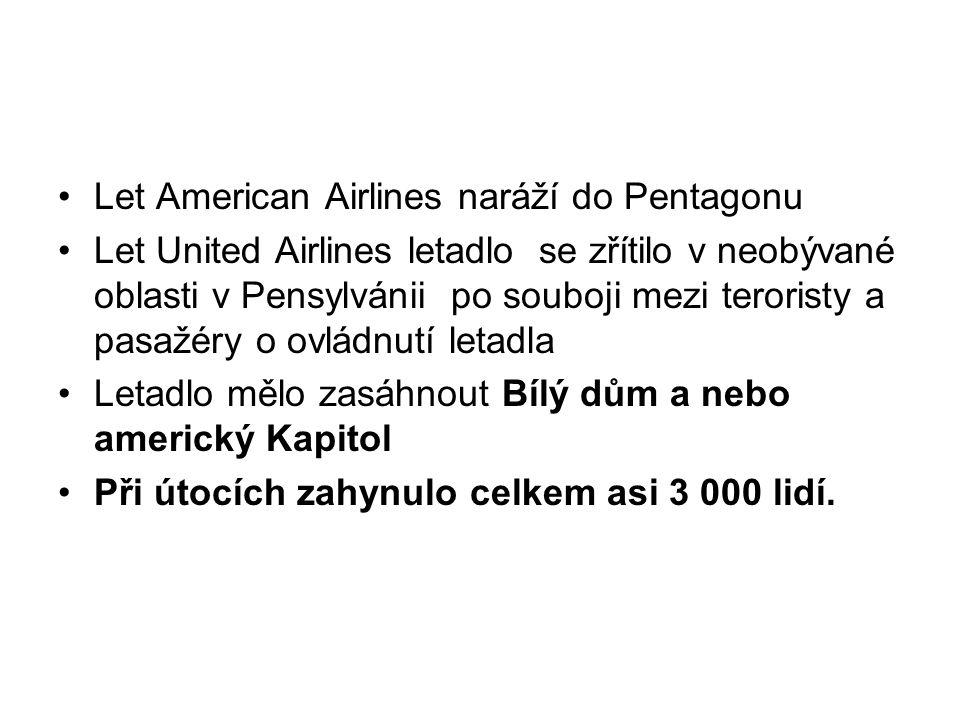 Let American Airlines naráží do Pentagonu