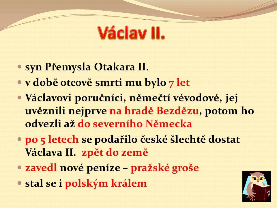 Václav II. syn Přemysla Otakara II. v době otcově smrti mu bylo 7 let