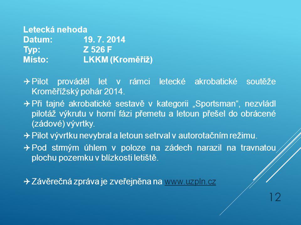 Letecká nehoda Datum: 19. 7. 2014. Typ: Z 526 F. Místo: LKKM (Kroměříž)
