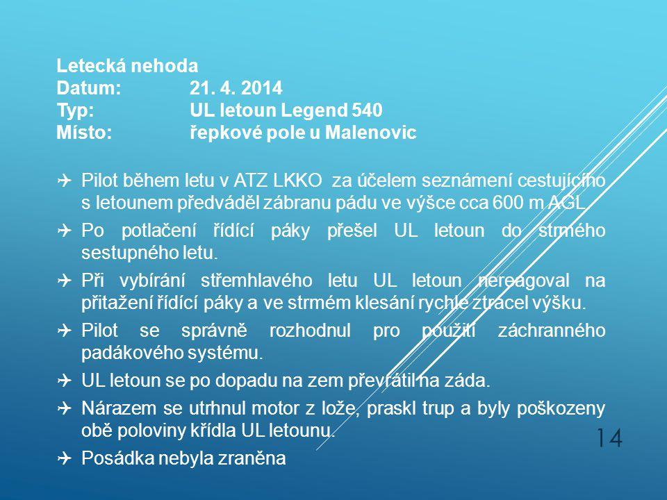 Letecká nehoda Datum: 21. 4. 2014. Typ: UL letoun Legend 540. Místo: řepkové pole u Malenovic.