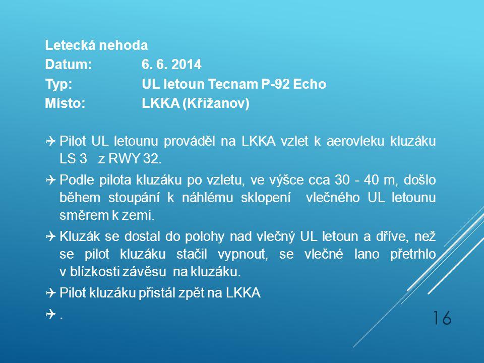 Letecká nehoda Datum: 6. 6. 2014. Typ: UL letoun Tecnam P-92 Echo. Místo: LKKA (Křižanov)