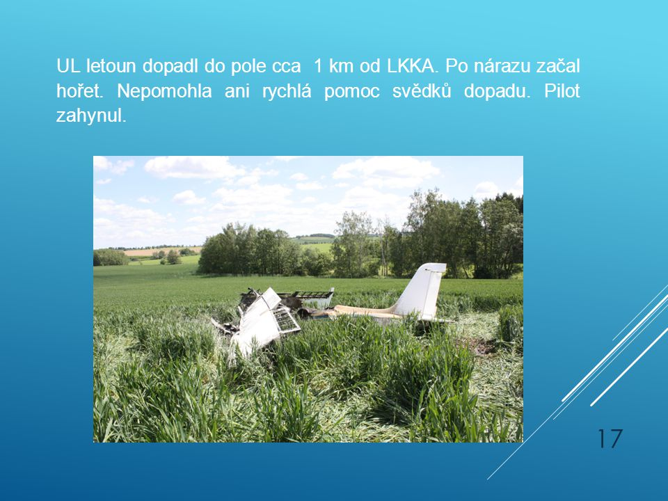UL letoun dopadl do pole cca 1 km od LKKA. Po nárazu začal hořet