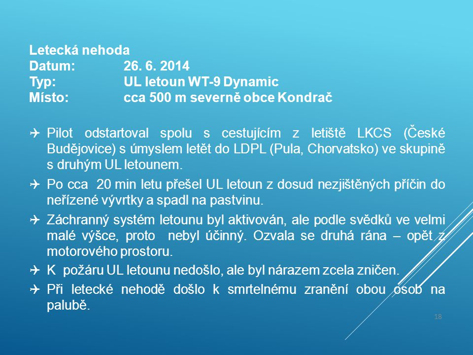 Letecká nehoda Datum: 26. 6. 2014. Typ: UL letoun WT-9 Dynamic. Místo: cca 500 m severně obce Kondrač.