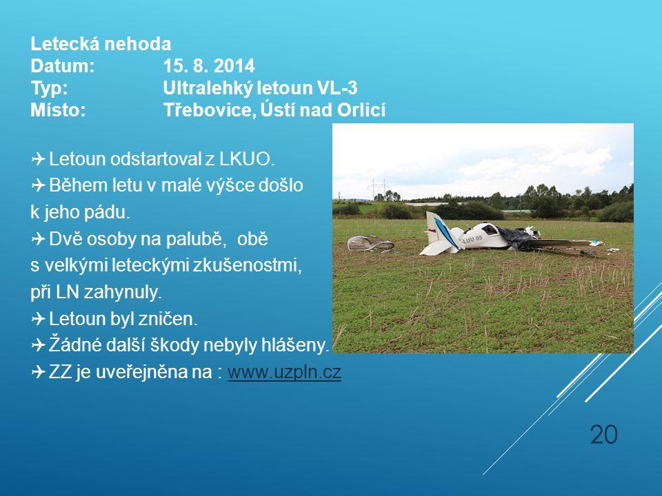 Letecká nehoda Datum: 15. 8. 2014. Typ: Ultralehký letoun VL-3. Místo: Třebovice, Ústí nad Orlicí.