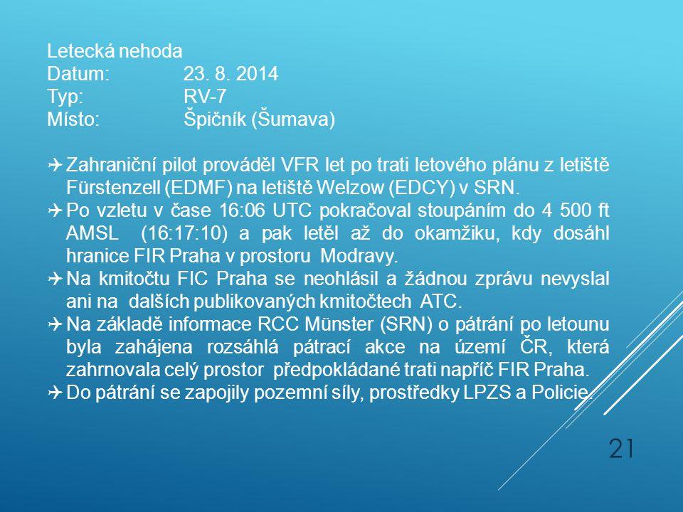 Letecká nehoda Datum: 23. 8. 2014. Typ: RV-7. Místo: Špičník (Šumava)