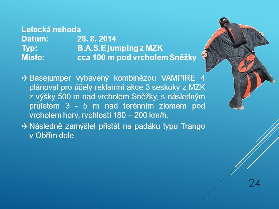 Letecká nehoda Datum: 28. 8. 2014. Typ: B.A.S.E jumping z MZK. Místo: cca 100 m pod vrcholem Sněžky.