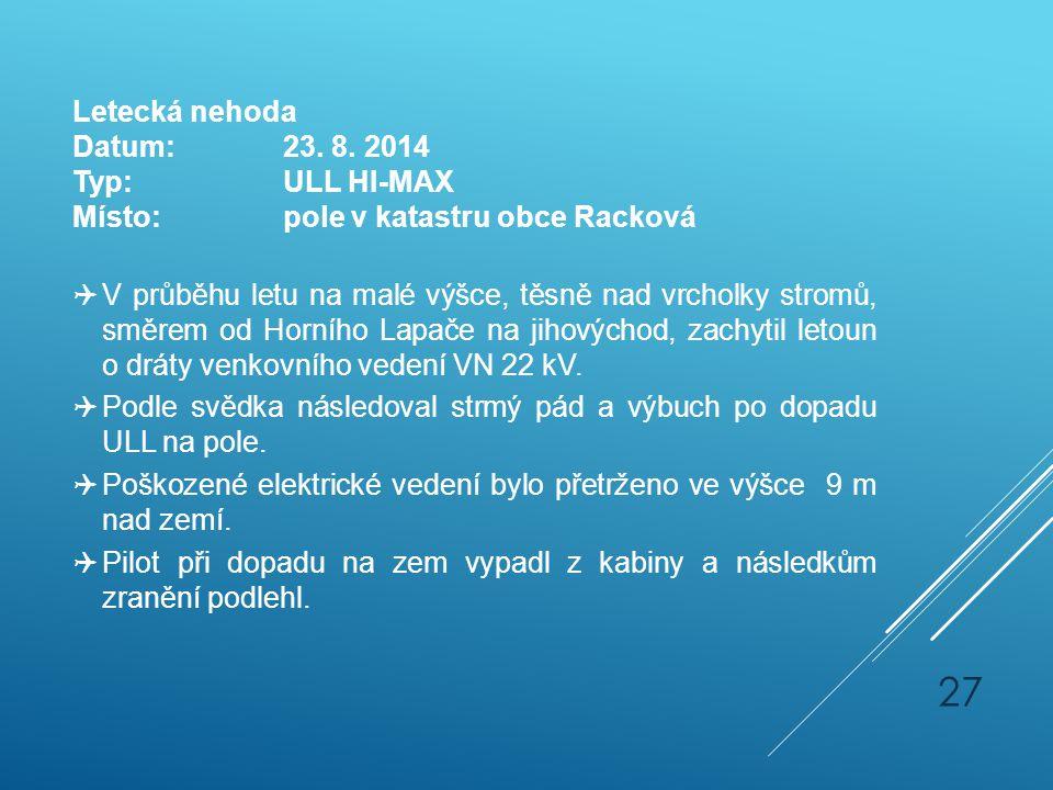 Letecká nehoda Datum: 23. 8. 2014. Typ: ULL HI-MAX. Místo: pole v katastru obce Racková.