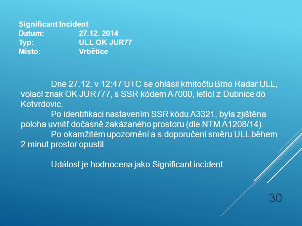 Significant Incident Datum: 27.12. 2014. Typ: ULL OK JUR77. Místo: Vrbětice.