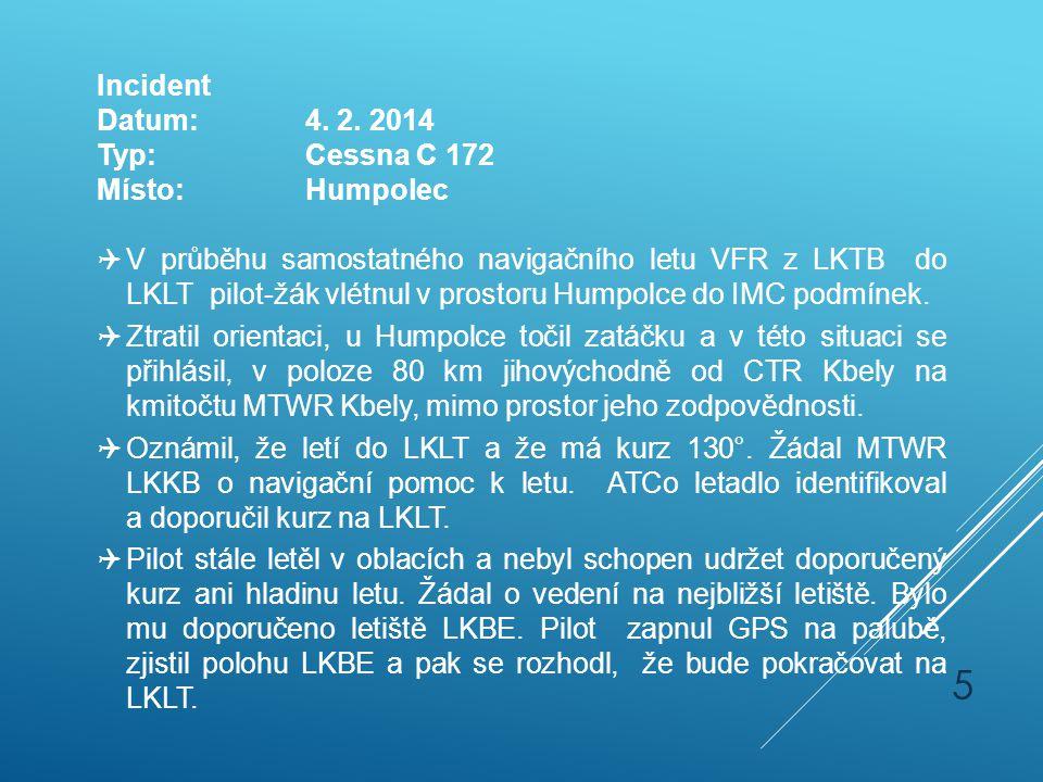 Incident Datum: 4. 2. 2014. Typ: Cessna C 172. Místo: Humpolec.