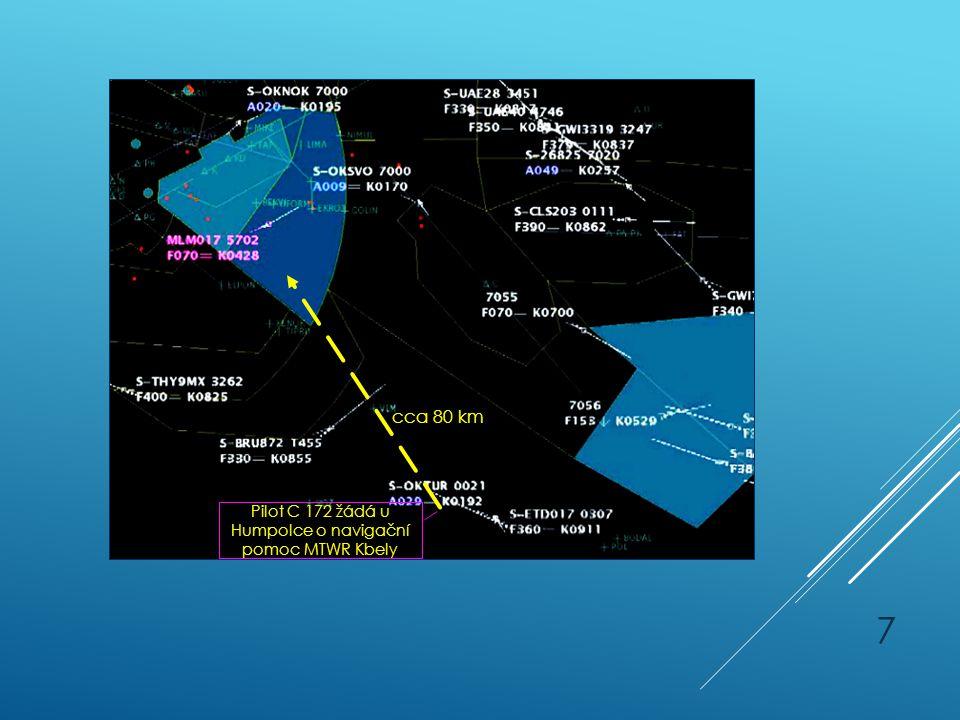 Pilot C 172 žádá u Humpolce o navigační pomoc MTWR Kbely