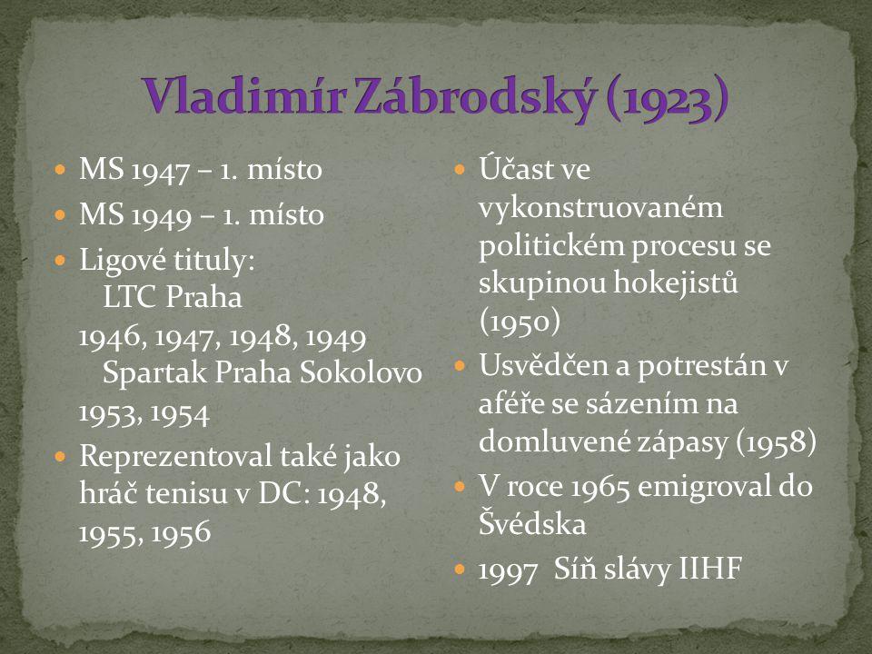 Vladimír Zábrodský (1923) MS 1947 – 1. místo MS 1949 – 1. místo