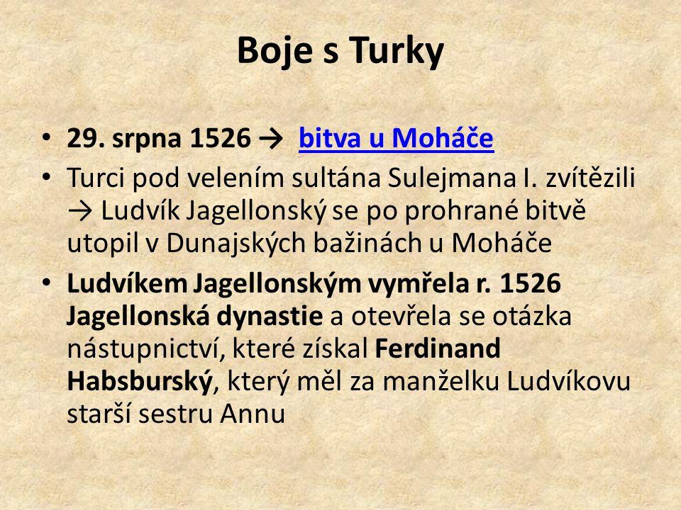 Boje s Turky 29. srpna 1526 → bitva u Moháče