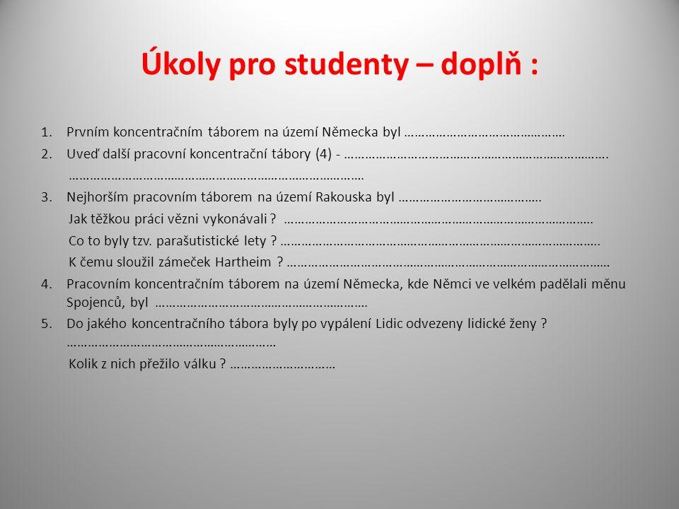 Úkoly pro studenty – doplň :