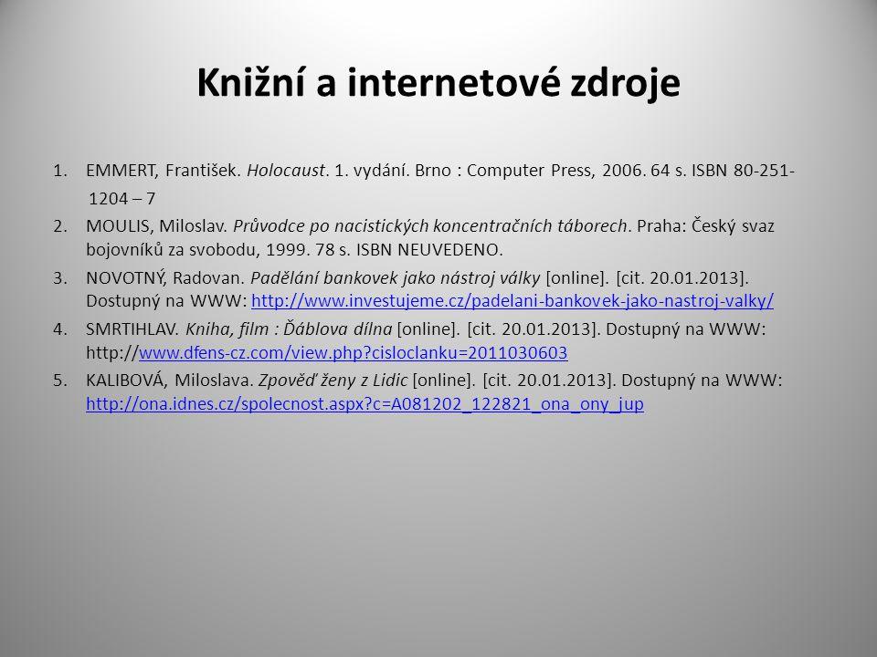Knižní a internetové zdroje