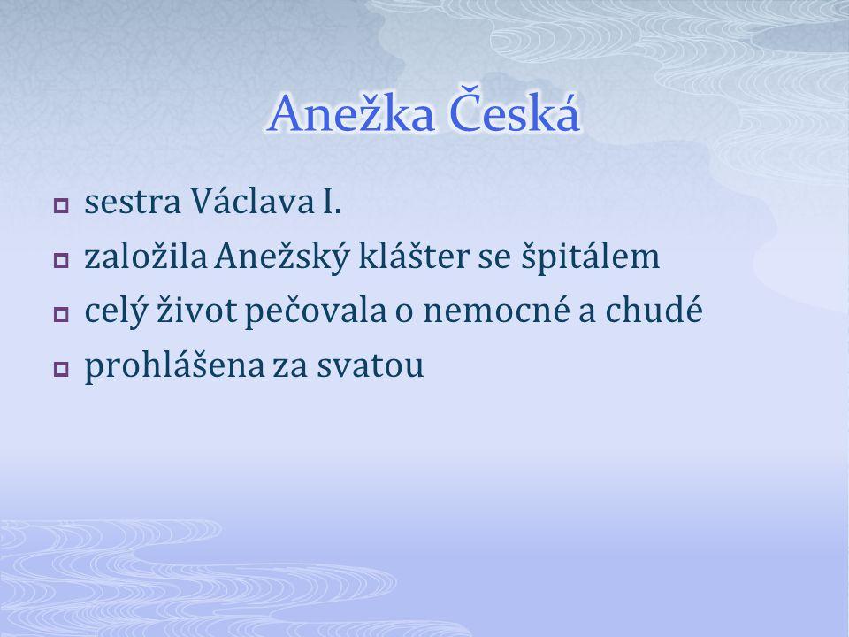 Anežka Česká sestra Václava I. založila Anežský klášter se špitálem