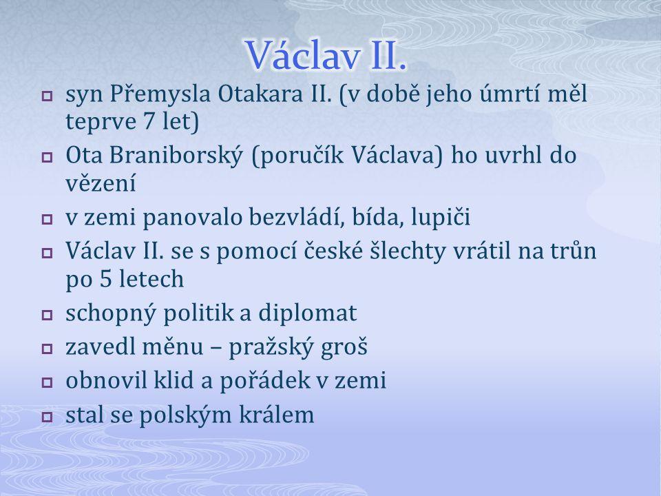 Václav II. syn Přemysla Otakara II. (v době jeho úmrtí měl teprve 7 let) Ota Braniborský (poručík Václava) ho uvrhl do vězení.