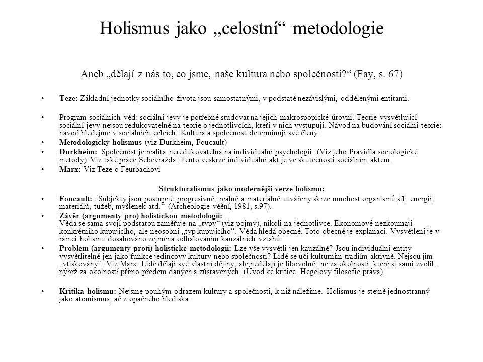 "Holismus jako ""celostní metodologie"