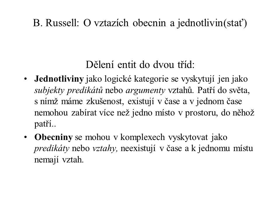 B. Russell: O vztazích obecnin a jednotlivin(stať)