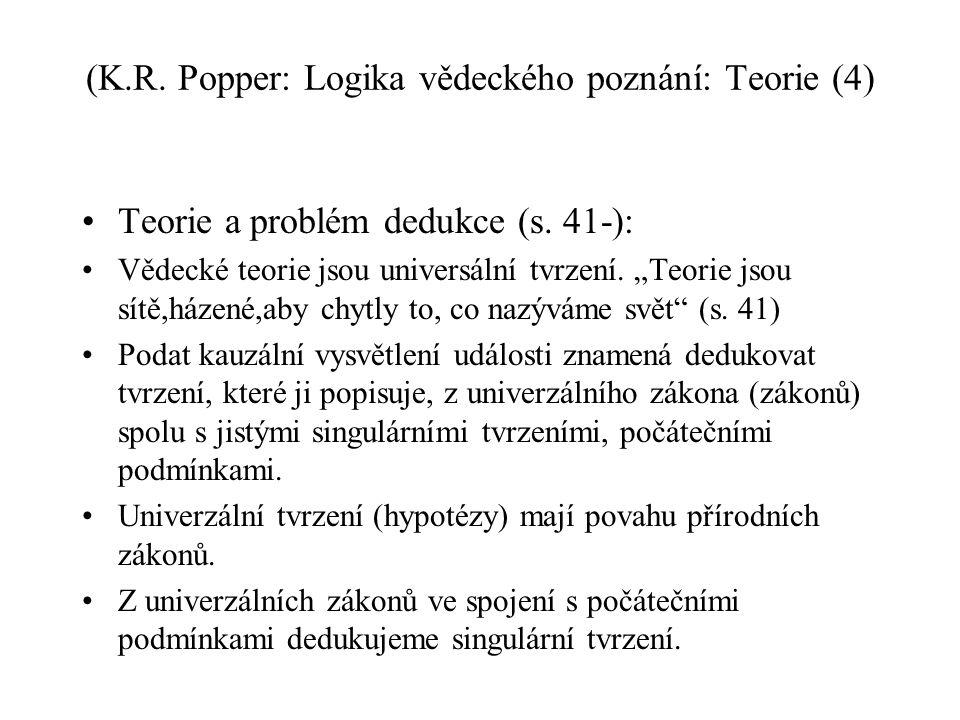 (K.R. Popper: Logika vědeckého poznání: Teorie (4)