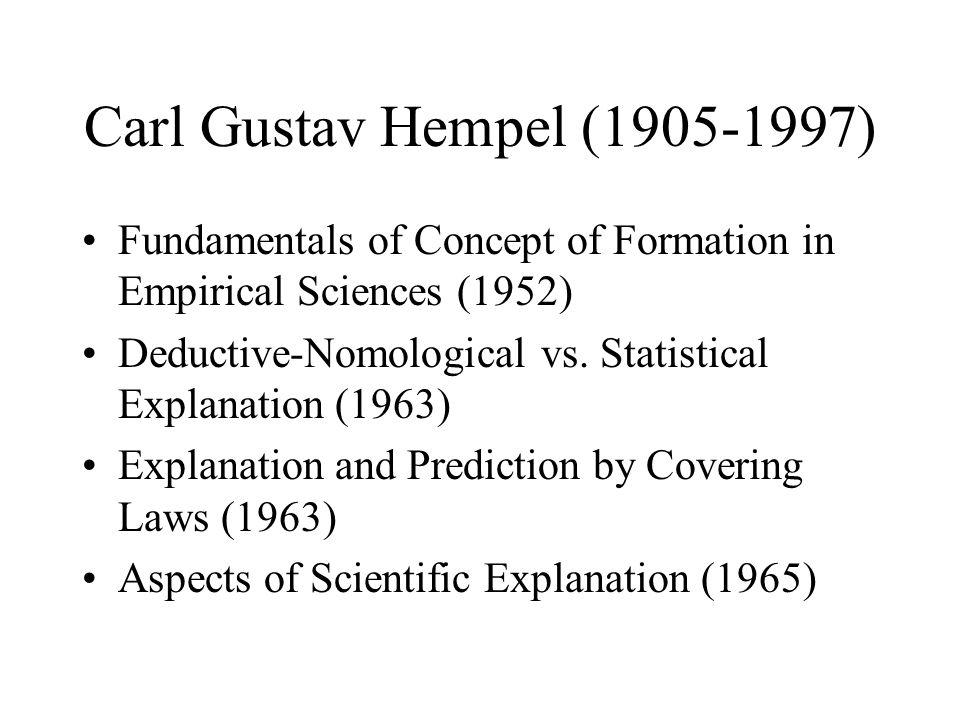 Carl Gustav Hempel (1905-1997) Fundamentals of Concept of Formation in Empirical Sciences (1952)