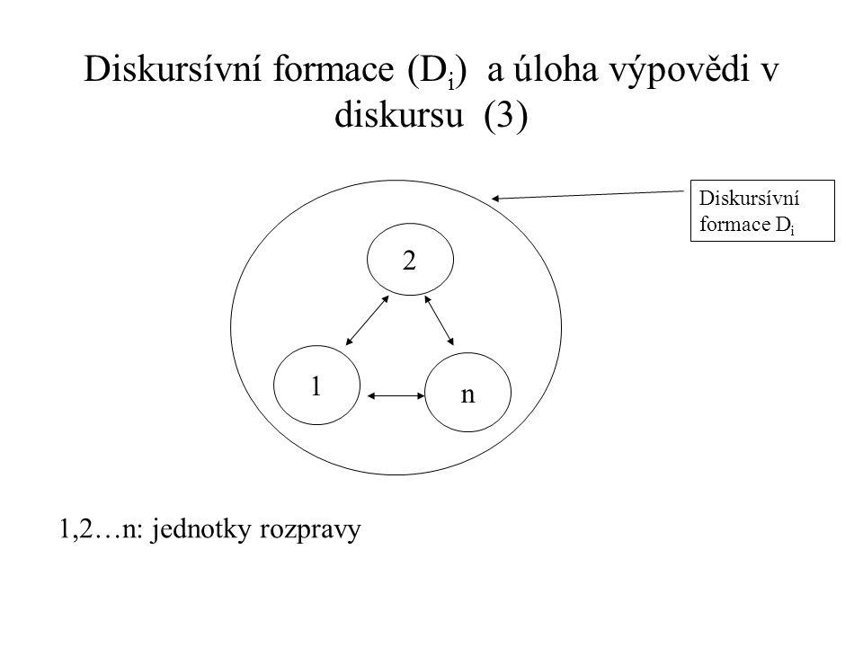 Diskursívní formace (Di) a úloha výpovědi v diskursu (3)