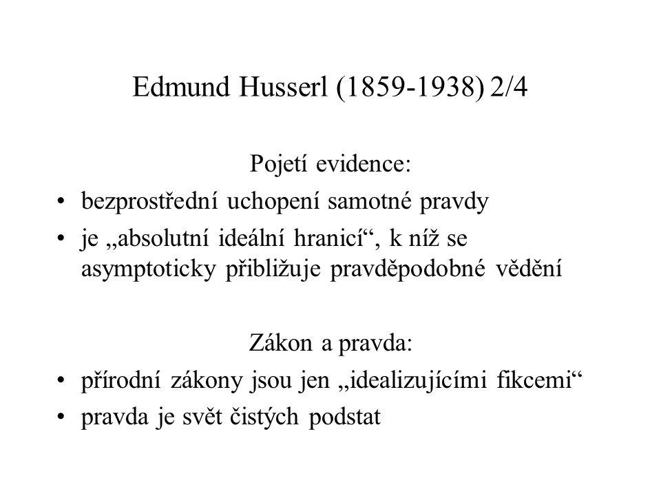 Edmund Husserl (1859-1938) 2/4 Pojetí evidence:
