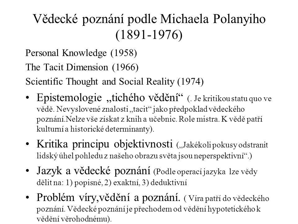Vědecké poznání podle Michaela Polanyiho (1891-1976)