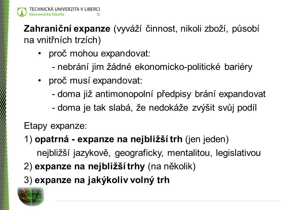 Zahraniční expanze (vyváží činnost, nikoli zboží, působí na vnitřních trzích)