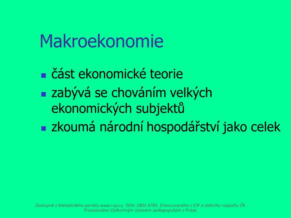 Makroekonomie část ekonomické teorie