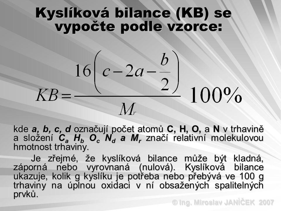 Kyslíková bilance (KB) se vypočte podle vzorce: