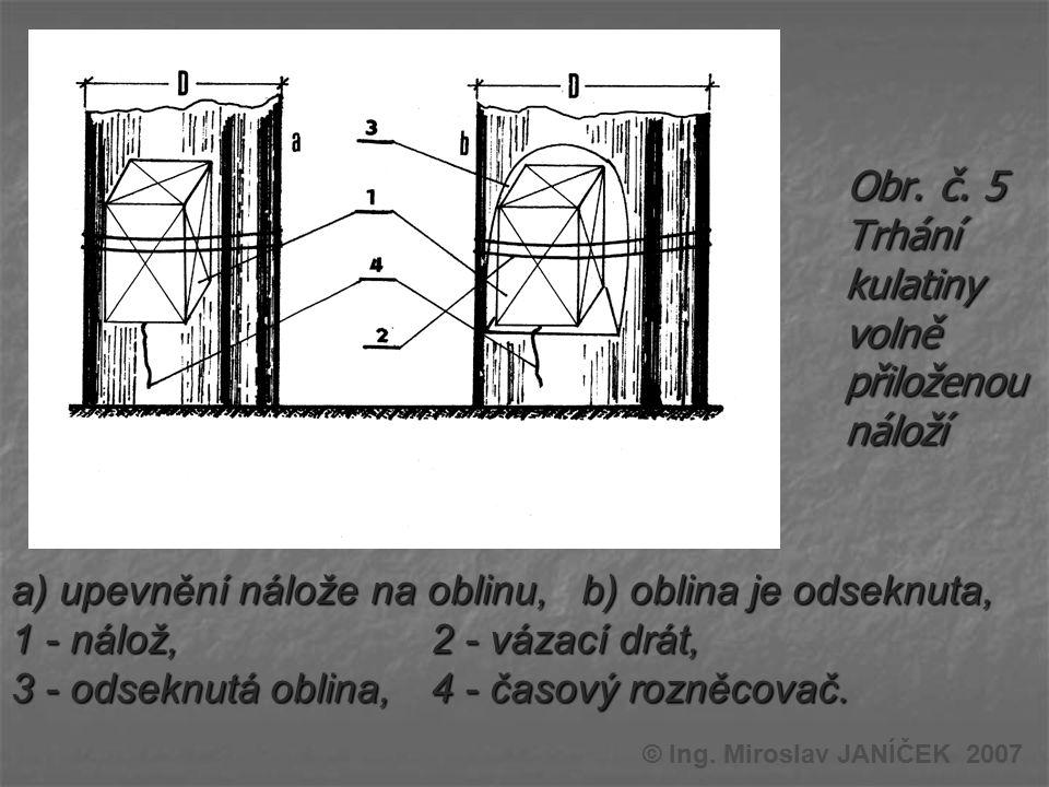 Obr. č. 5 Trhání kulatiny volně přiloženou náloží